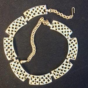 Vintage Gold Tone Basketweave Choker Necklace